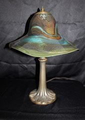 Blown Glass Lamp Green & Blue
