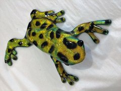 Dichroic Fused Glass Yellow Green Frog
