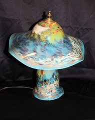 Blown Glass Lamp Blue Multi-Color
