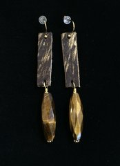 Leather Earrings with Faceted Tiger's Eye