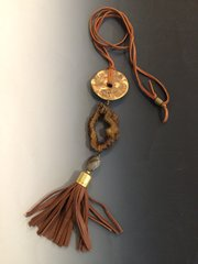 Brass, Druzy Agate, and Leather Necklace