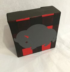 Buffalo Canvas, Grey with Black and Red bkg