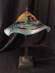 Blown Glass Lamp Light Blue Multi