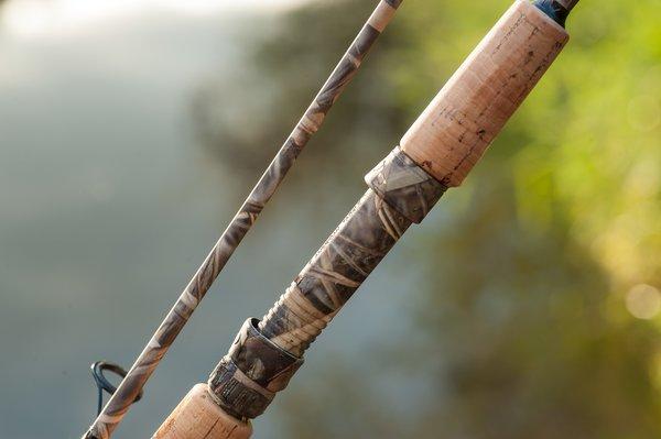 Sp843 2pc spinning rod blank 7ft 4 10lbs vista evo camo for Camo fishing pole