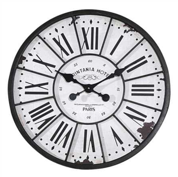 Round Wood and Metal Wall Clock Milford Mills