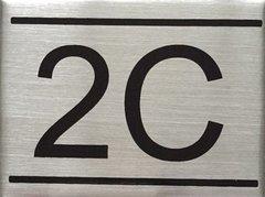 APARTMENT NUMBER SIGN – 2C- BRUSHED ALUMINUM