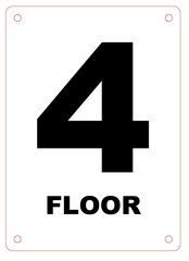 FLOOR NUMBER FOUR (4) SIGN - ALUMINIUM