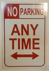 NO PARKING SIGN–WHITE ALUMINUM (18X12)