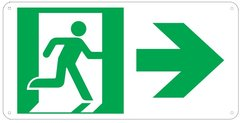 "PHOTOLUMINESCENT EXIT SIGN HEAVY DUTY / GLOW IN THE DARK ""EXIT"" SIGN HEAVY DUTY (ALUMINUM SIGN 4.5 X 9 WITH RIGHT ARROW AND RUNNING MAN)"