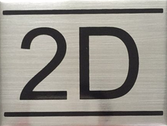 APARTMENT NUMBER SIGN – 2D- BRUSHED ALUMINUM