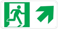 "PHOTOLUMINESCENT EXIT SIGN HEAVY DUTY / GLOW IN THE DARK ""EXIT"" SIGN HEAVY DUTY (ALUMINUM SIGN 4.5 X 9 WITH RIGHT UP ARROW AND RUNNING MAN)"