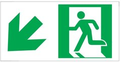 "GLOW IN THE DARK HIGH INTENSITY SELF STICKING PVC GLOW IN THE DARK SAFETY GUIDANCE SIGN - ""EXIT"" SIGN 4.5X9 WITH RUNNING MAN AND DOWN LEFT ARROW"