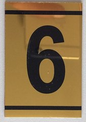 z-NUMBER SIX SIGN – 6 SIGN - GOLD ALUMINUM (2.25X1. 5)