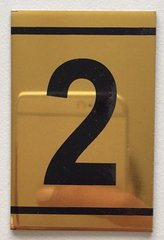 z-NUMBER TWO SIGN – 2 SIGN - GOLD ALUMINUM (2.25X1. 5)