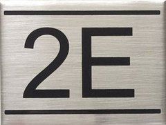 APARTMENT NUMBER SIGN – 2E- BRUSHED ALUMINUM