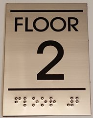 FLOOR NUMBER TWO (2) SIGN - STAINLESS STEEL (5.75X4)