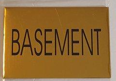 BASEMENT SIGN – GOLD ALUMINUM (4X5.75)