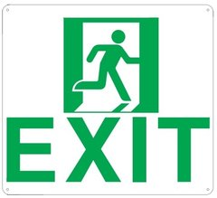 "PHOTOLUMINESCENT EXIT SIGN HEAVY DUTY / GLOW IN THE DARK ""EXIT"" SIGN HEAVY DUTY (ALUMINUM SIGN 9 X 10 AND RUNNING MAN)"