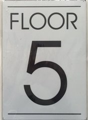 FLOOR NUMBER FIVE (5) SIGN – WHITE BACKGROUND