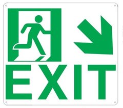 "PHOTOLUMINESCENT EXIT SIGN HEAVY DUTY / GLOW IN THE DARK ""EXIT"" SIGN HEAVY DUTY (ALUMINUM SIGN 9 X 10 WITH DOWN RIGHT ARROW AND RUNNING MAN)"