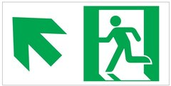"GLOW IN THE DARK HIGH INTENSITY SELF STICKING PVC GLOW IN THE DARK SAFETY GUIDANCE SIGN - ""EXIT"" SIGN 4.5X9 WITH RUNNING MAN AND UP LEFT ARROW"