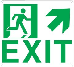 "PHOTOLUMINESCENT EXIT SIGN HEAVY DUTY / GLOW IN THE DARK ""EXIT"" SIGN HEAVY DUTY (ALUMINUM SIGN 9 X 10 WITH UP RIGHT ARROW AND RUNNING MAN)"