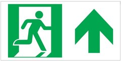 "GLOW IN THE DARK HIGH INTENSITY SELF STICKING PVC GLOW IN THE DARK SAFETY GUIDANCE SIGN - ""EXIT"" SIGN 4.5X9 WITH RUNNING MAN AND UP ARROW"
