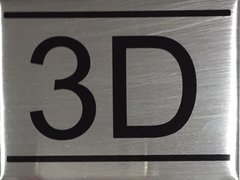 APARTMENT NUMBER SIGN – 3D- BRUSHED ALUMINUM