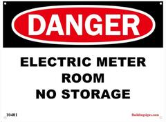 Danger Electric Meter Room - No Storage SIGN