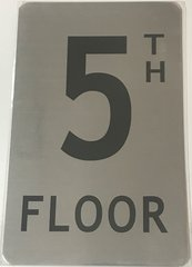 FLOOR NUMBER FIVE (5) SIGN - 5TH FLOOR SIGN- BRUSHED ALUMINUM (ALUMINUM SIGNS 8X5)- The Mont Argent Line