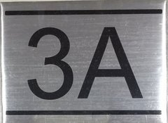 APARTMENT NUMBER SIGN - 3A -BRUSHED ALUMINUM