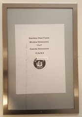 ELEVATOR CERTIFICATE FRAME STAINLESS STEEL (SIZE 11'' X 17'')
