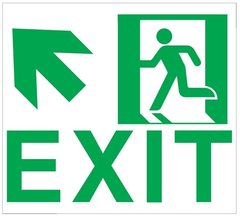 "GLOW IN THE DARK HIGH INTENSITY SELF STICKING PVC GLOW IN THE DARK SAFETY GUIDANCE SIGN - ""EXIT"" SIGN 9X10 WITH RUNNING MAN AND UP LEFT ARROW"
