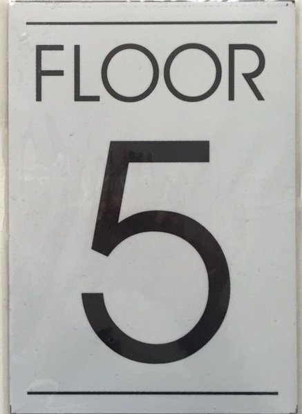 Fire department sign floor number five 5 sign white for Floor number sign