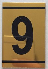 z-NUMBER NINE SIGN – 9 SIGN - GOLD ALUMINUM (2.25X1. 5)