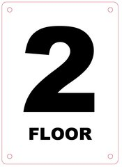 FLOOR NUMBER TWO (2) SIGN - ALUMINIUM