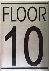 FLOOR NUMBER TEN (10) SIGN - BRUSHED ALUMINUM