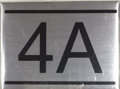 APARTMENT NUMBER SIGN - 4A -BRUSHED ALUMINUM
