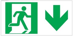 "GLOW IN THE DARK HIGH INTENSITY SELF STICKING PVC GLOW IN DARK GUIDANCE SAFETY SIGN - ""EXIT"" SIGN 4.5X9 WITH RUNNING MAN AND DOWN ARROW"