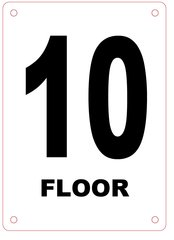 FLOOR NUMBER TEN (10) SIGN - ALUMINIUM
