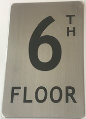 FLOOR NUMBER SIGN - 6TH FLOOR SIGN- BRUSHED ALUMINUM (ALUMINUM SIGNS 8X5)- The Mont Argent Line