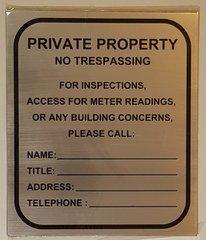 BUILDING ACCESS CONTACT SIGN- BRUSHED ALUMINUM (10X8.5)