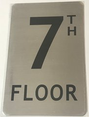 FLOOR NUMBER SIGN - 7TH FLOOR SIGN- BRUSHED ALUMINUM (ALUMINUM SIGNS 8X5)- The Mont Argent Line
