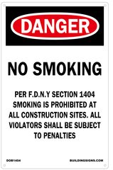 DANGER NO SMOKING WORK SITE PER FDNY SECTION 1404 SIGN (14x9) (Aluminium sign)