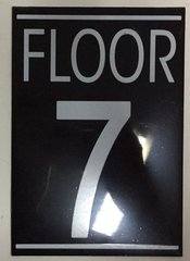 FLOOR NUMBER SEVEN (7) SIGN – BLACK (5.75X4)