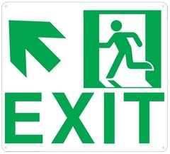 "PHOTOLUMINESCENT EXIT SIGN HEAVY DUTY / GLOW IN THE DARK ""EXIT"" SIGN HEAVY DUTY (ALUMINUM SIGN 9 X 10 WITH UP LEFT ARROW AND RUNNING MAN)"