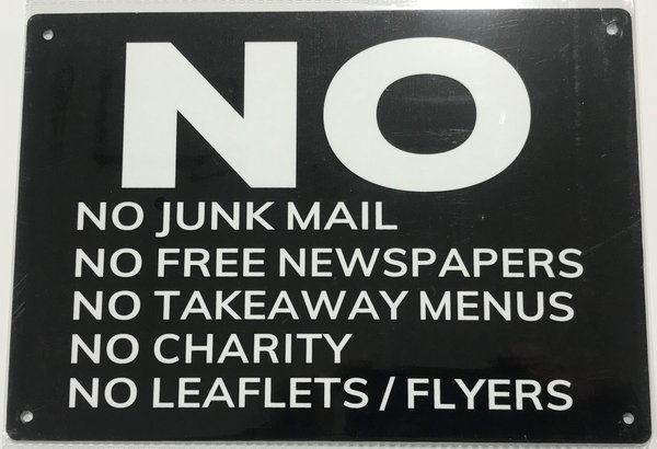 no junk mail no flyers no takeaway menus no free newspapers sign