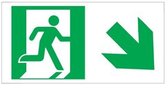 "GLOW IN THE DARK HIGH INTENSITY SELF STICKING PVC GLOW IN THE DARK SAFETY GUIDANCE SIGN - ""EXIT"" SIGN 4.5X9 WITH RUNNING MAN AND DOWN RIGHT ARROW"