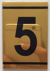 z-ZNUMBER FIVE SIGN – 5 SIGN - GOLD ALUMINUM (2.25X1. 5)