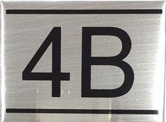 APARTMENT NUMBER SIGN – 4B -BRUSHED ALUMINUM